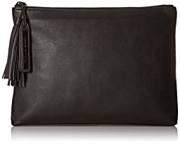 LOEFFLER RANDALL Tassel Pouch Nappa Leather Clutch, Black, One Size
