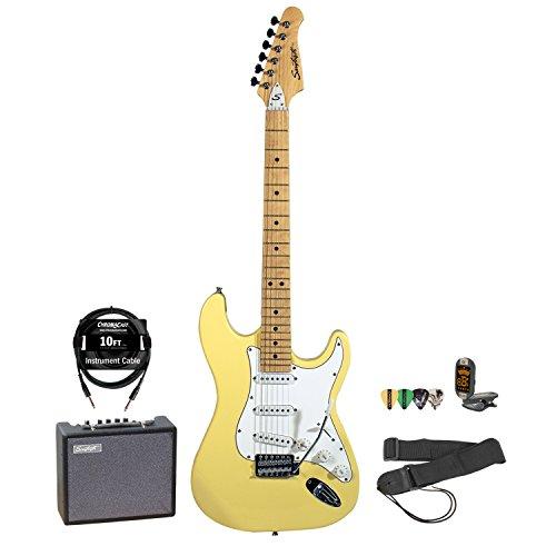 Sawtooth Citron Vanilla Cream Electric Guitar W/ White Pickguard - Includes: Accessories & 10-Watt Amp