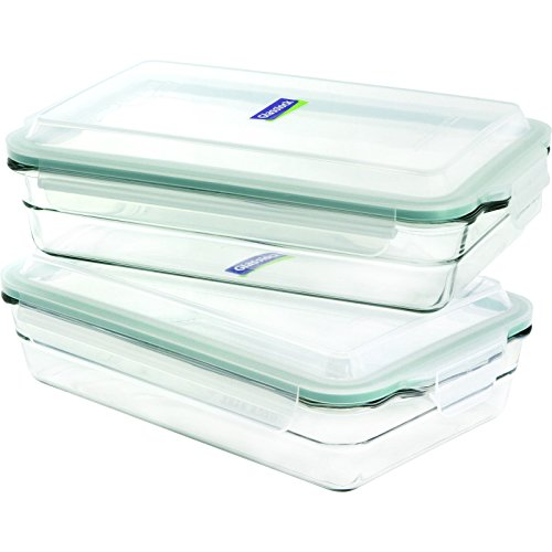 Glasslock 4-Piece Oven Safe Bakeware Rectangle Set, 10.5 by 6.5 Inch
