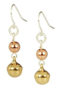 Gold and Copper Tones Classic Jingle Bell Drop Earrings