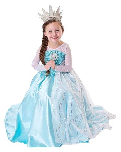 MNTLLBNC COSTUME FROZEN ELSA TAGLIA 100 2-3 ANNI REGINA DELLE NEVI VESTITO CON STRASCICO BIANCO BIMBA DRESS GIRL GLITTER