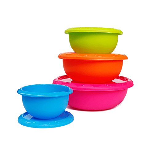Honla Plastic Mixing Bowls with Lids,Pour Spout&Curved Lip,1,2,3 and 5 Quart-Set of 4-Blue/Lime Green/Orange/Pink-for Serving Pasta,Salad,Party Snack,Dessert-Nesting Cooking/Baking Storage Containers (Plastic Lid Large compare prices)