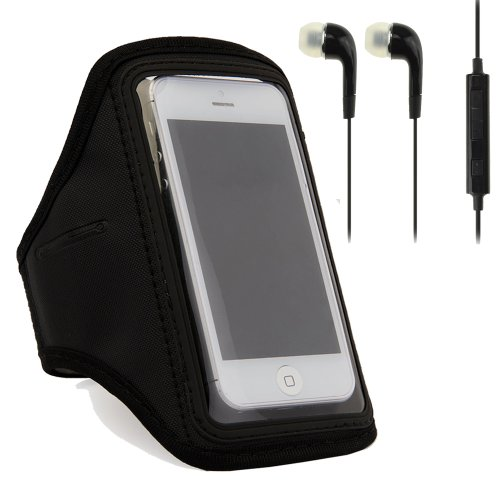 Black Running Sport Gym Armband Case Cover For Apple Iphone 5 / 5S / 5C / 4S / Nokia Lumia 920 / Lumia 925 + Headphones
