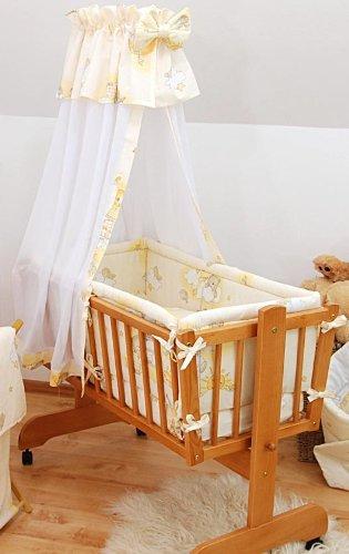 7 PIECE BABY CRIB BEDDING SET (Fits Rocking / Swinging Crib / Cradle 90x40cm) - Ladders Yellow