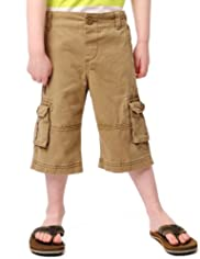 Pure Cotton Adjustable Waist Washed Cargo Shorts [T88-2256D-S]