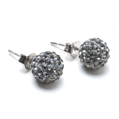 Bling Jewelry Grey Crystal Shamballa Inspired Ball Stud Earrings Sterling Silver