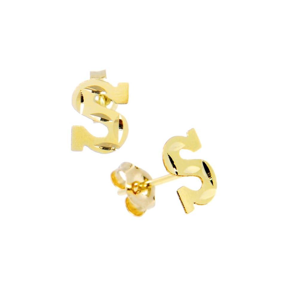 14K Yellow Gold Initial S Stud Earrings
