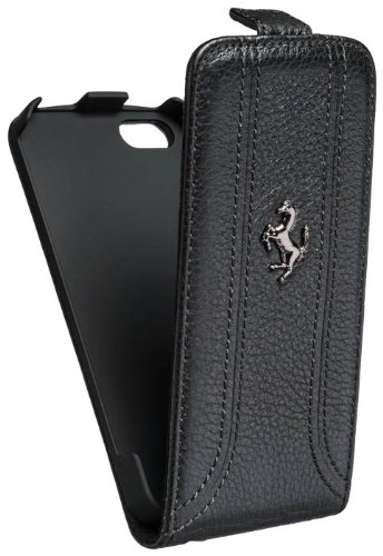 Special Sale Ferrari Leather Flip Case for iPhone 5 - Black