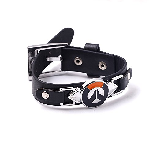 Overwatch Alloy Logo Black Leather Wristband