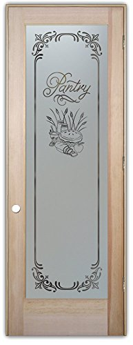 Pantry Door - Sans Soucie Etched Glass Interior Door, Doug Fir, Apple Pie Lenora 24 in. x 80 in. Prehung Left Hand Out Swing 4-9/16 in. Matching Jamb (Interior Glass Slab Door compare prices)