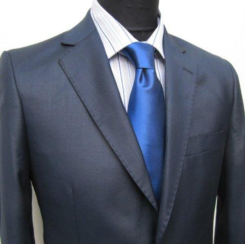 MUGA mens Suit elegant, Slim-line, Marine/Darkblue, Size 36R (EU 46)