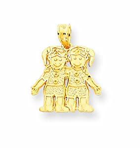 14k Solid Satin Two Girls Charm