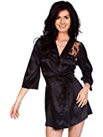 Simplicity Sexy Lace Robe Intimate Lingerie Sleepwear w/G-string, Black