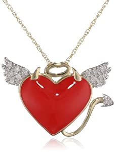 10k Yellow Gold Red Enamel with Diamonds Naughty and Nice Pendant Necklace (0.05 cttw, I-J Color, I2-I3 Clarity), 18""