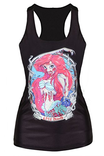 Omine Women's Cool Gothic Zombie Mermaid Print Vest Top