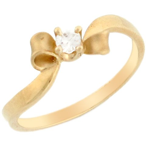 10k Yellow Gold Beautiful Round CZ Satin Finish Bow Promise Ring