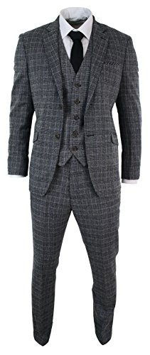 Mens-Check-Vintage-Retro-Herringbone-Tweed-Grey-Black-3-Piece-Suit-Tailored-Fit