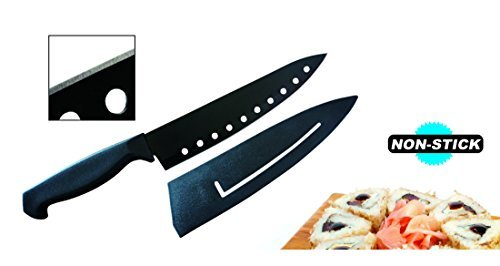 "Ewei's HomeWares 8"" Non-Stick Sushi Chef's Knife With Sheath, Black, Advantage, Ergonomic Handle, High Carbon Stainless Steel Knife, 5CR15MOV Blade"
