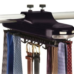 Lighted Rotating TIE RACK and belt holder - Holds 64 pieces
