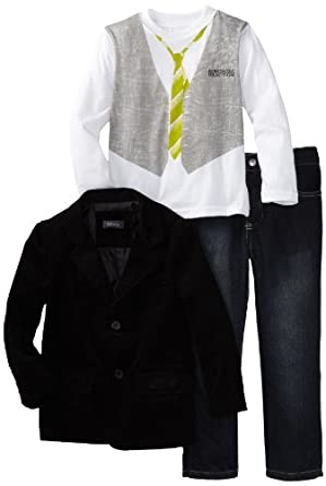 Kenneth Cole Little Boys' Blazer with Shirt and Jean, Gray, 4
