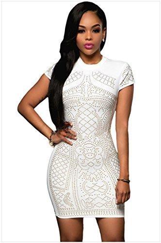 meinice Oro Studded maniche corte vestito White Medium