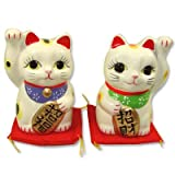 Maneki Neko Fortune Lucky Love Couple Pair Cat White (Cats may vary in style and color)