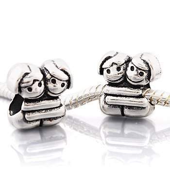 "Andante-Stones 925 Sterling Silber Bead ""Sich umarmende Freundinnen"" Element Kugel für European Beads + Organzasäckchen"