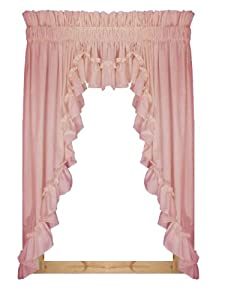stephanie country ruffle 3 piece swag curtains set 132 inch by 63 inch 3 inch rod. Black Bedroom Furniture Sets. Home Design Ideas
