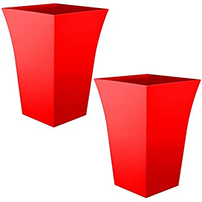 Large Milano Tall Planter Red Square Plastic x 2 OGD164