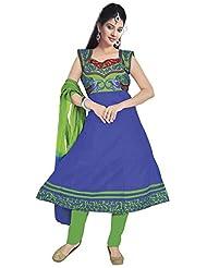 Surat Tex Blue Color Embroidered Cotton Stitched Salwar Suit-D582DL2007KAXL