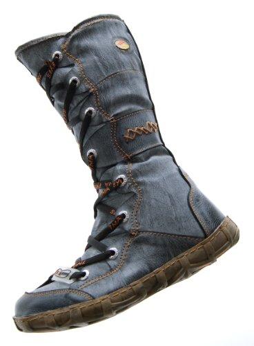 Leder Stiefel TMA Damen Winter Schuhe gefüttert Schwarz Weiß Grün Gelb Rot Kniehohe Damenstiefel used look