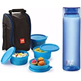 Cello Lunch Pack Combo - Blue 4 H2O (Cello Max Fresh Lunch Box Set, 4-Pieces + Cello H2O Unbreakable Bottle ,...