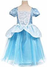 Laryanareg Kids Children Girls Cinderella Puff Sleeve Princess Bubble Dress