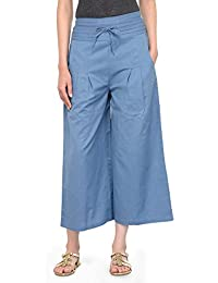 Blue Solid Relaxed Fit Palazzo Trousers
