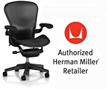 Hot Sale Herman Miller Aeron Chair Highly Adjustable with Lumbar Support Pad with Translucent H9 Hard Floor Casters - Large Size (C) Graphite Dark Frame, Tuxedo Grey Black Pellicle Suspension Material Home Office Desk Task Chair