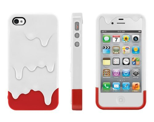 White /Red Melt Ice Cream Hard Plastic Case w/Package