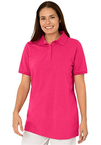 Womens Plus Size Short Sleeve Pique Knit Polo Shirt
