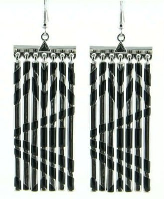 New House of Harlow Silver Black Metal Fringe Earring