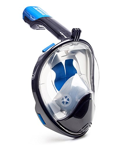 Seaview 180 Degree Panoramic Snorkel Mask- Full Face Design,Panoramic Navy Blue / Gray,Small/Medium (Full Face Scuba Mask compare prices)