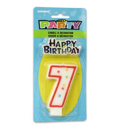 Cake Decoration #7 Glitter Birthday Candle (1ct) - 1