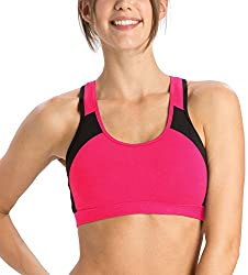 Jockey Full Cup Sports Bra (1380_Mod Pink and Black_L)