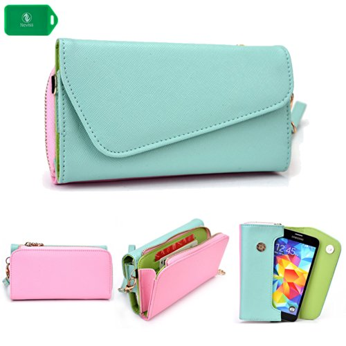 Cross Body Wristlet/Wallet Smartphone Holder| Baby Blue/Baby Pink | Universal Fit For Boost Mobile Samsung Galaxy Rush Nocontract Phone front-59118