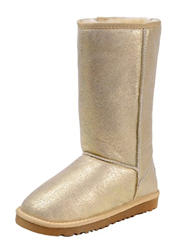 Milanao Women Winter Knee-High Leather Charming Metal Color Snow Boots(7.5 B(M)Us,Golden)