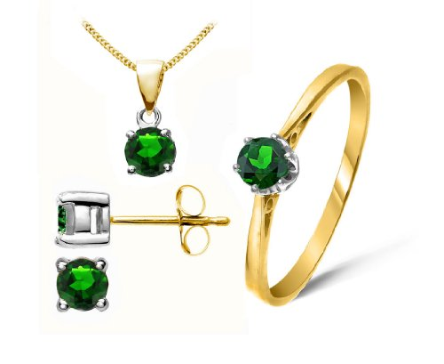 Stunning 9 ct Gold Ladies Solitaire Earrings + Pendant + Ring with Chrome Diopside 1.04 Carat - 45cm*9mm*5mm