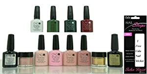 CND Nude Nail Gel Polish the Intimates Collection + 1 & 2 Charmed Set with Base & Top + 1 Free Cala Nail Sticker