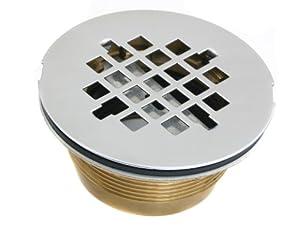CSI Bathware DRA101 Shower Drain, 2-Inch Brass No-Caulk Shower Drain with Stainless Steel Grid Strainer