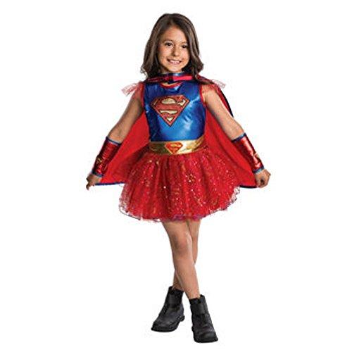 DC Comics Supergirl Tutu Dress Costume ~ 4/6 ~ Dress, Belt, Cape & Gauntlets (Kids Supergirl Tutu Costume)