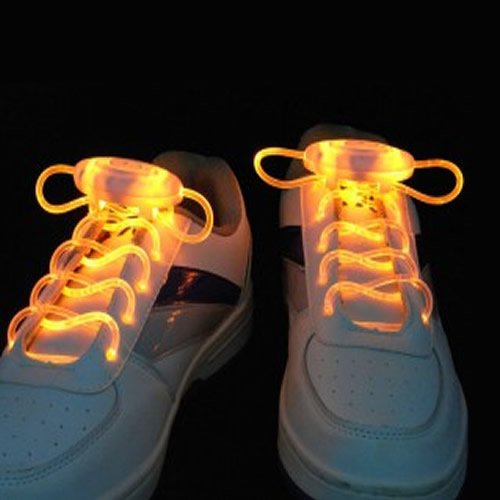 Yellow Led Light Up Shoe Shoelaces Shoestring Flash Glow Stick 5 Colors Selectable Bright