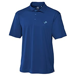 NFL Detroit Lions Mens Drytec Genre Polo Knit Short Sleeve Top, Tour Blue by Cutter & Buck