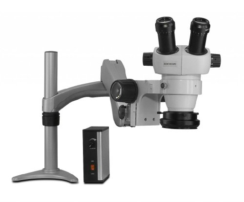 Scienscope Elz-Pk3-Led Elz Series Mini Stereo Zoom Binocular Microscope, 10X Eyepieces, 0.5X Auxiliary Lens, Articulating Arm, 76Mm Focus Rack, Led Illuminator, Led Ring Light